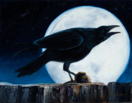 Silhouette of a raven against a full moon